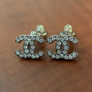 Chanel Authentic Silver Crystal Studded Clip on